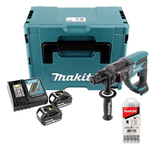 Makita DHR 202 RFJ - Martello combinato a batteria da 18 V, SDS-Plus, in Makpac, con 2 batterie da 3,0 Ah, caricatore e 5 pezzi Set di punte per trapano in metallo duro per muratura e cemento.