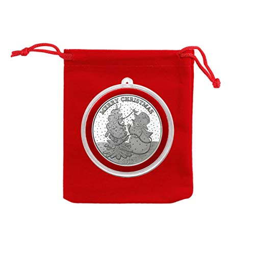 2020 - Merry Christmas Snowman with Animals Decorating Tree Silver Coin in Ornament Holder and Red Velvet Gift Bag - Uncirculated