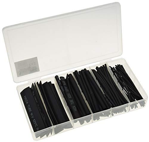 Schrumpfschlauch-Set 100-teilig Schrumpfschläuche mit Schrumpfrate 2:1 10cm lang 6 Größen Kabel Schlauch Isolierung I Schwarz