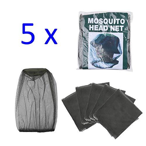 Kare & Kind 5-pack Head Net Mesh - Muggennet - Beschermt gezicht, hoofd, nek van insecten, vliegen, insecten, bijen - buiten, Camping, Wandelen, Wandelen, Lopen, Bijenteelt, Tuinieren, Vissen (Donkergroen)