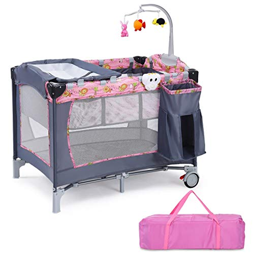 %13 OFF! LHONE Baby Trend Pack Play Foldable Travel Bassinet Bed Baby Trend Nursery Center 3 in 1 Re...