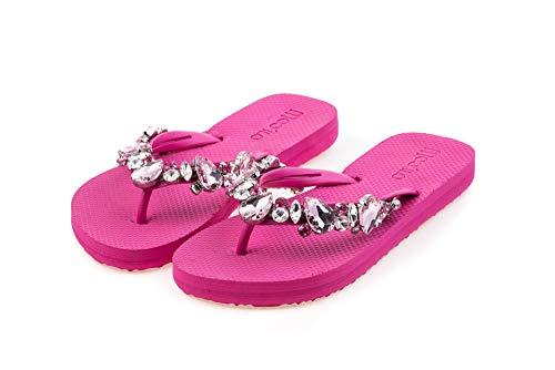 MOO´ILO Damen Sommer Zehentrenner Sandale 'Pink Pink' mit farbigen Strass Steinchen (handgestickt) - Ultraweiche Strandsandale mit natürlicher
