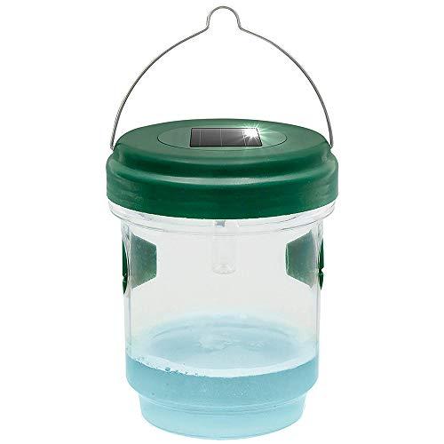 Gardigo Wespenfalle und Mückenfalle mit Solar Licht I Wespen mit Lockstoff fangen I LED Leuchte lockt Mücken an I Für Drinnen und Draußen