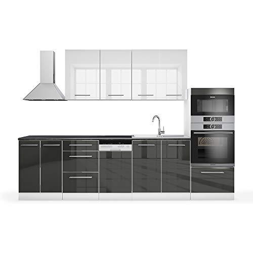 Vicco Küche Fame-Line Küchenzeile Küchenblock Einbauküche 295cm Hochglanz (Weiß/Anthrazit Hochglanz)
