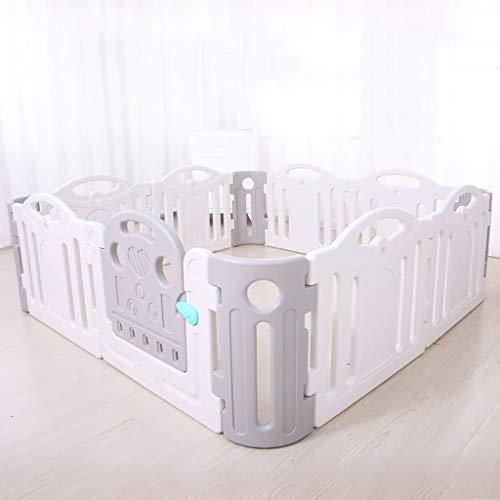 CCLLA Baby Zaun 12 Kunststoffplatte 190 * 190 cm Kindersicherheitsspielzentrum Zaun (Farbe: Grau + Weiß)