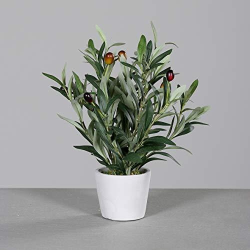 mucplants Hochwertiger künstlicher Olivenbaum Mini Höhe ca. 40cm im grauen Steintopf Olive Kunstpflanze Dekopflanze Topfpflanze