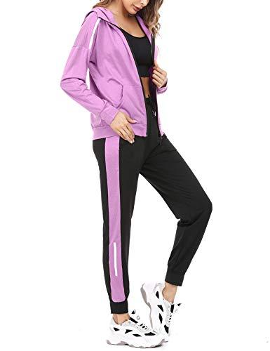 Aibrou Tuta Sportiva Donna Completi Felpa 2 Pezzi con Cappuccio Pantaloni Jogging per Passeggiata Casual Pigiama Tute da Ginnastica