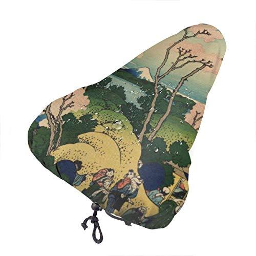 Du-shop Hokusai Japan Ink Cherry Blossom Mount Fuji Coprisedile per Bici con coprisella Antipioggia Antipioggia con Coulisse