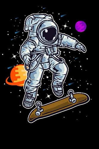 Astronaut Skating On Rocket Skateboard In Space Kid Men Women Notebook: Dot Grid Journal or Notebook (6x9 inches) with 120 Pages