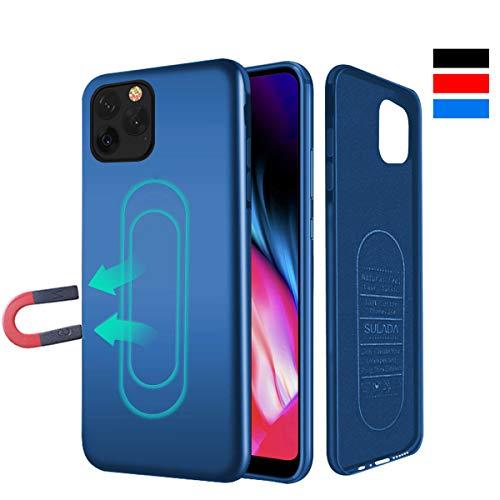 Coque Haobuy pour iPhone 11 / XI PRO Max, Coque magnétique pour support de voiture magnétique avec plaque de métal intégrée, Etui de protection pour TPU anti-rayures et antichoc pour iPhone 11 / XI PRO Max 6.5 - Bleu