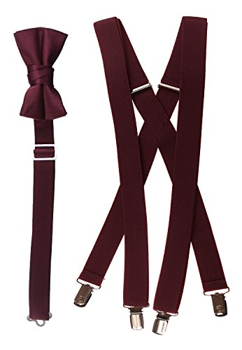 Tuxgear Boys Bow Tie and Suspender Set Combo, Burgundy, Young Men 40 Inch (40' Young Men, Burgundy)
