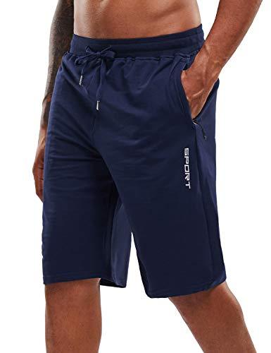 YAWHO Herren Sporthose Kurz Hose Laufshorts Trainingsshorts Schnelltrocknend mit Reißverschlusstasche/Jogging Hose für Workout,Laufsport,Fitness (Blue, M)