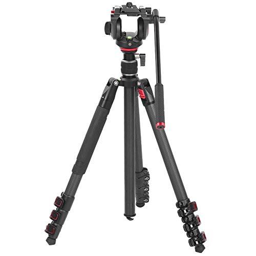 DAUERHAFT Miliboo MTT501 Treppiede per videocamera in Fibra di Carbonio, treppiede Fotografico a Doppio Scopo per riprese a 360 °, per Matrimoni, Eventi, documentari dal Vivo, conferenze, Viaggi