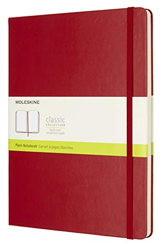 Moleskine Classic Notebook, Hard Cover, XL (7.5 x 9.5) Plain/Blank, Scarlet Red, 192 Pages