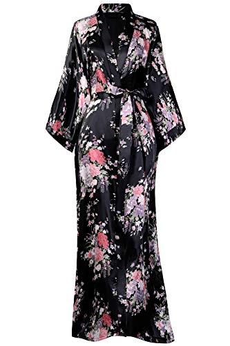 BABEYOND Kimono de Seda Vestido de Satén Kimono Pavo Real Novia Pijamas de Seda Bata de Satén 135 cm (Negro)