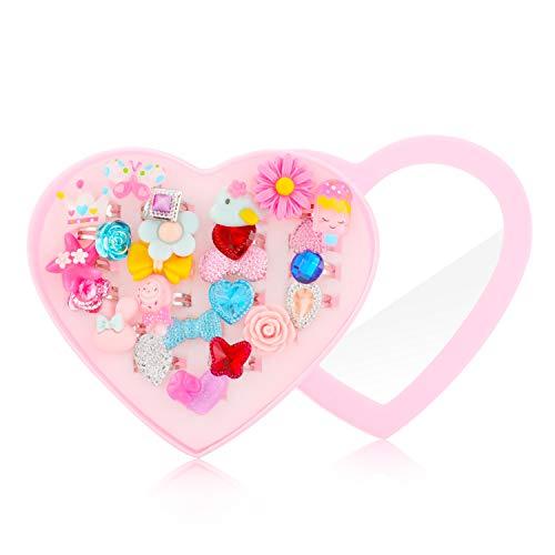 Hifot Anillos niñas 24 Piezas, Ajustables Princesa Joyas Anillos de Dedo con Caja en Forma de corazón, fingir Jugar y Vestir Anillos para niñas pequeñas