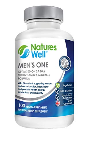 Men's One Optimised Multivitamin and Mineral, 100 Vegetarian Tablets, Assured Halal and Kosher, Vitamins A, C, D, E Vitamins B6, B12 and Selenium and Zinc for Prostate Health