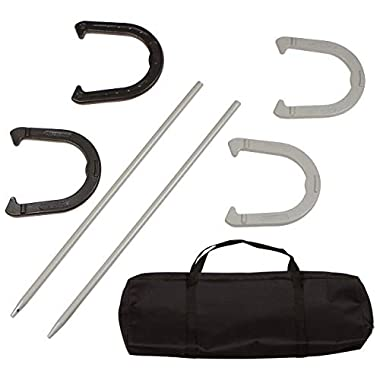 Trademark Innovations Premium Reinforced Carbon Steel Horseshoe Set with Carry Bag