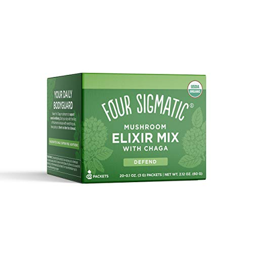 FOUR SIGMATIC Chaga Mushroom Elixir, Organic Chaga Mushroom Powder with Rose Hips & Mint, Immune Support & Overall Wellness, 20 counts of 0.1oz (3 G)