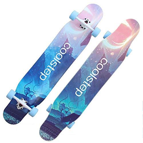 YSCYLY Mini Skateboard Retro Cruiser,Longboard Road Brush Street Doppelkette,Geeignet for Jugendliche/AnfäNger/Jungen/MäDchen/Kinder/Erwachsene