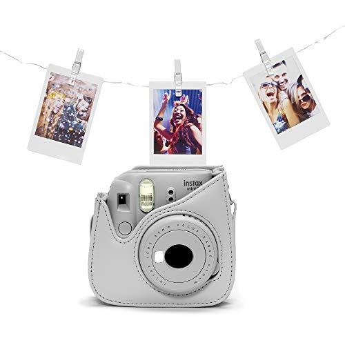 Fujifilm Instax Mini 9 Camera Bundle, Completo di Luci LED, Custodia e 10 Scatti, Smoky White