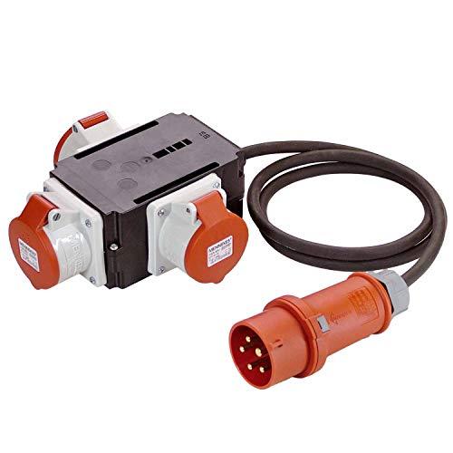 as - Schwabe MIXO Adapter / Stromverteiler ODER – CEE-Stecker auf 3 CEE-Steckdosen – Robuster Baustellen Starkstrom-Verteiler – IP44 – Made in Germany I 60529