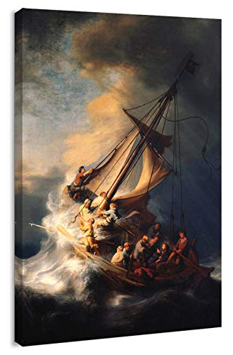 Canvas Print Wall Art - Christ in The Storm on The Sea of Galilee by Rembrandt - 24x36 inches