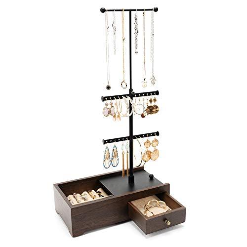 Emfogo Soporte organizador de joyas – Soporte de cajón oculto para joyería con 3 niveles de doble barra organizador de collar para pulsera y pendientes de anillo (nuez)