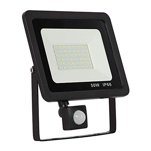 FEEE-ZC ZONGHJIE 50W LED Floodlights with Motion Sensor, 4000LM Security Lights, Day White (6000K) IP65 Waterproof Suitable for Garden, Shed, Garage, Lawns