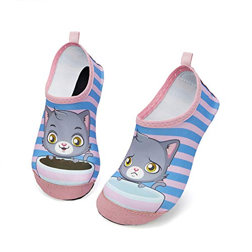 Zapatos de Agua para Niños Antideslizante Secado RáPido Descalzo Calcetines Zapatillas de Piscina Escarpines(Gato Rosa,18/19EU)