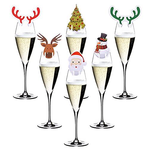 80 ciondoli natalizi per calici di vino, decorazioni natalizie, bicchieri di vino, segnaposto per Natale e feste