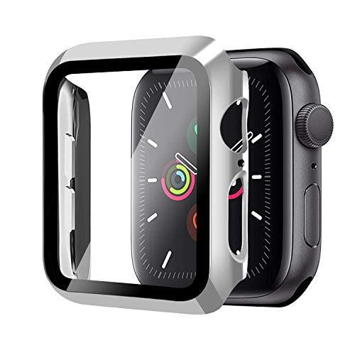 Funda para Apple Watch 40mm Serie 6/Serie SE/Serie 5/Serie 4+Cristal Templado, Qianyou PC Case y Vidrio Protector Pantalla Integrados, Anti-Rasguños Slim Bumper Case Cover para iWatch (Plata)