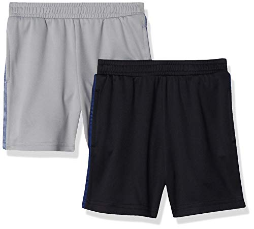 Amazon Essentials Boys' 2-Pack Mesh Short Bañador, Negro/Gris Claro, S