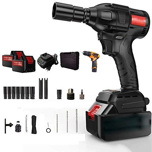 QTCD 198TV25000,320N.m High Torque Brushless Impact Wrench, Electric Impact Portable Electric Impact Wrench Kit, Tire Repair Tools