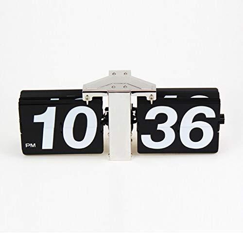 NS Horloge Numérique Automatique Flip Clock, Design Rétro Vintage Elégant pour Bureau Salle Séjour sur Pied Blanc/Noir (Couleur : Noir)