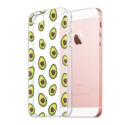 Pnakqil Funda iPhone SE / 5s / 5, Silicona 3D Transparente con Dibujos Diseño Slim TPU Antigolpes Ultrafina de Protector Piel Case Cover Cárcasa Fundas para Movil Apple iPhoneSE, Love Avocado