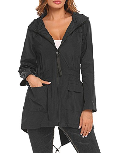 SoTeer Women's Raincoat Outdoor Hooded Packable Rain Jacket Waterproof Windbreaker
