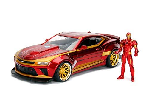 Jada Toys Marvel Iron Man 2016 Chevy Camaro SS, 1:24 Modellauto inkl. Iron Man Figur, aus Zinkdruckguss, öffnende Türen, Motorhaube, Kofferraum, rot/gold
