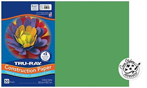 Tru-Ray 102961EA Pacon Construction Paper, 12-Inches by 18-Inches, 50-Count, Holiday Green (102961)