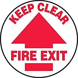 Round Floor Fire Exit Keep Clear (Arrow) Safety Sign, Funny Warning Stickers,Self Adhesive Vinyl,Safety Sign Label Decal, 8 Height X 8 Width, Red On White