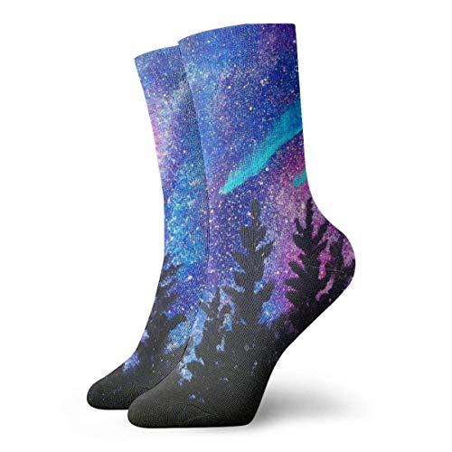 AOOEDM niños niñas loco divertido extraño Galaxy bosque estrellado árboles cosa calcetines lindos calcetines de vestir novedosos