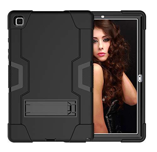 Hülle Galaxy Tab A7 10.4 2020 SM-T500/SM-T505, Schutzhülle 360 Grad Stoßfest/Handyhülle Schutz Tasche Outdoor/PC + Silikon 3-in-1/Tough Armor/Ständer-Schwarz