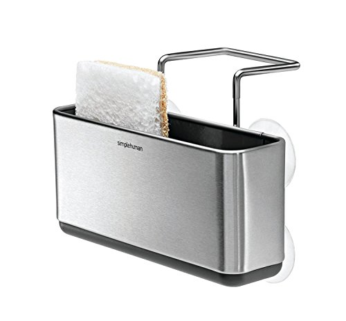simplehuman Slim Sink Caddy Sponge Holder, Brushed Stainless Steel