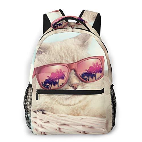 Unisex Rucksack süße Katze mit Sonnenbrille, 3D-Druck, leicht, Schultasche für Mädchen