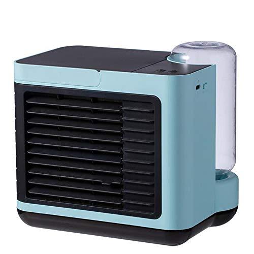 YGTMV Air Cooler Mini,Wiht 3 Velocidades Aires Acondicionados Móviles,LED Aire Acondicionado,3 En 1 Table Fan Humídrico De Aire para Seguridad del Exterior,Azul
