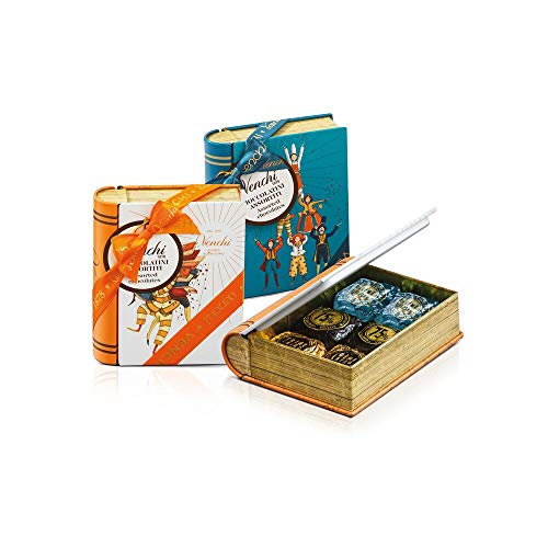 Venchi Scatola Regalo Con Cioccolatini Chocaviar Assortiti, Mini Libro In Latta - Senza Glutine - 150 Gr
