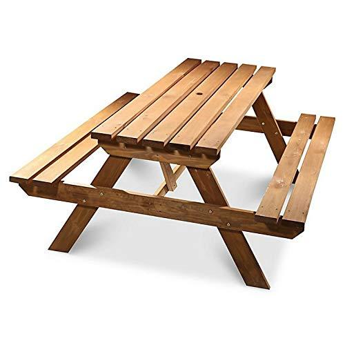 Banc de pique-nique Agad en bois – Très résistant - 6 places - Brun clair - Traité sous pression - 1,7 m
