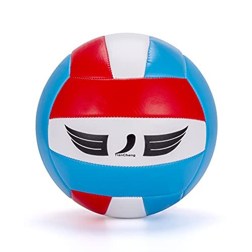 TianCheng Voleibol de piel sintética suave al tacto, para adultos y niños, pelota para exteriores, interior, playa, gimnasio, tamaño 5, amarillo/verde/blanco