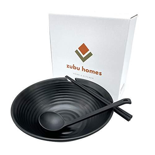 Ramen Bowl Set Black (Melamine), Asian Style Soup Bowl Set with Chopsticks, Spoon Set and 37 oz Bowl for Ramen, Pho, Noodles, Asian, Korean Ramen, Jjapaguri, Ram-don