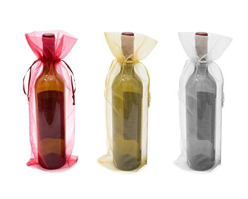 SCSpecial Bolsas de organza para botella de vino, 24 unidades, con cordón de ajuste, bolsas de regalo para botella de 15 pulgadas, para recepción de boda, escaparate de tienda, regalos de fies